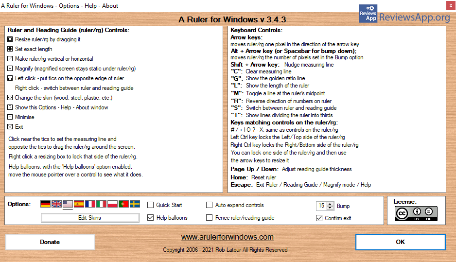 A Ruler for Windows shortcuts