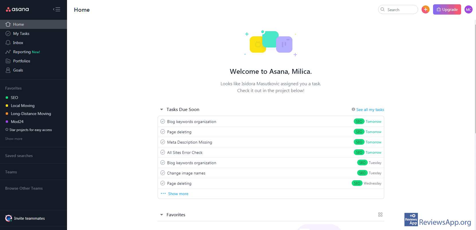 Asana menu