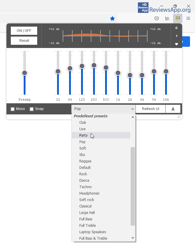 Audio Equalizer choosing a preset