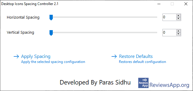 Desktop Icons Spacing Controller menu