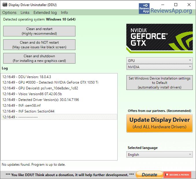 Display Driver Uninstaller menu