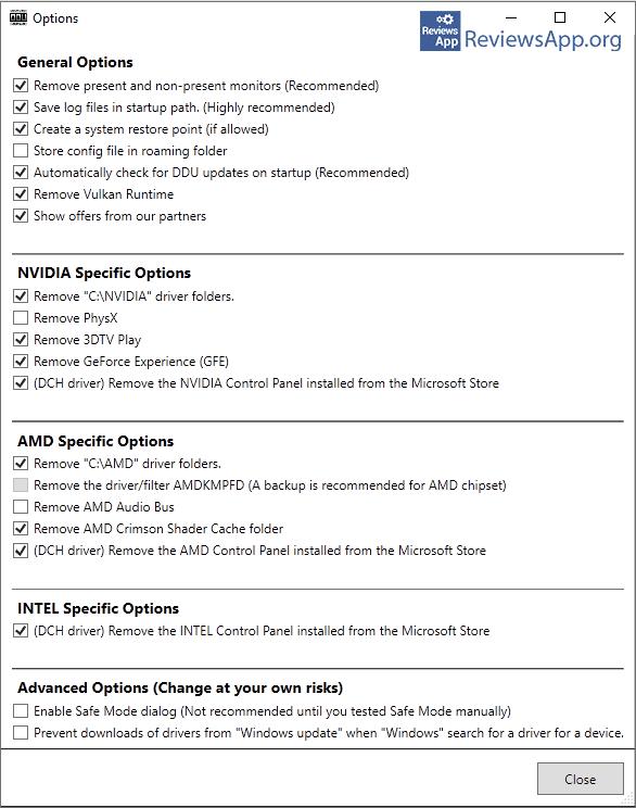 Display Driver Uninstaller settings
