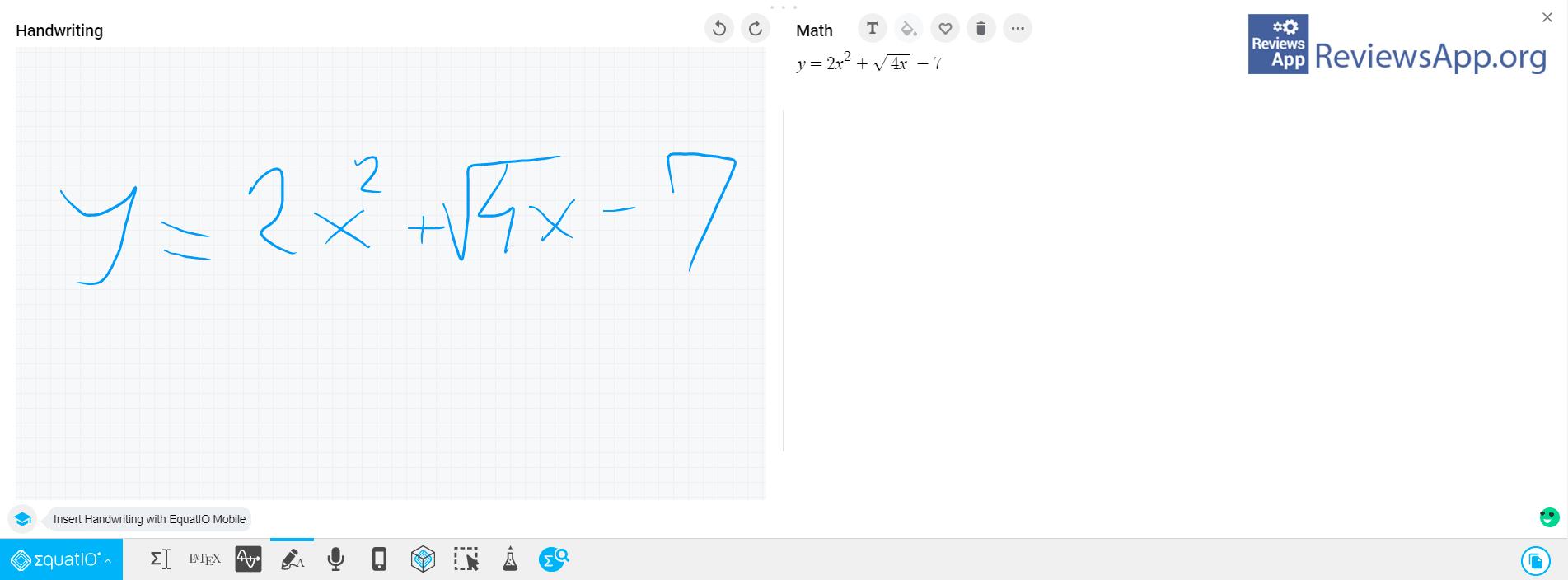 EquatIO writing formula