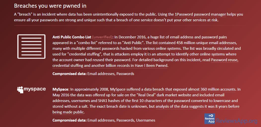 HaveIBeenPwned report