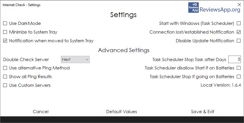 Internet Check settings