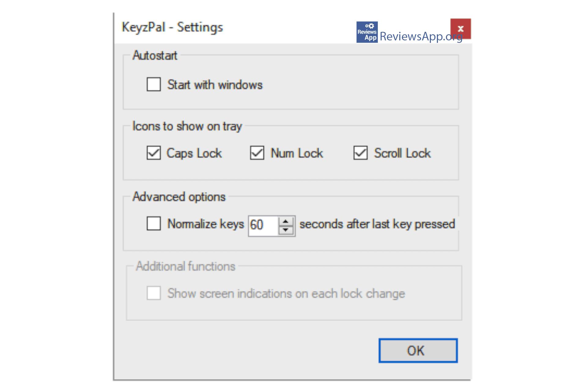 KeyzPal settings