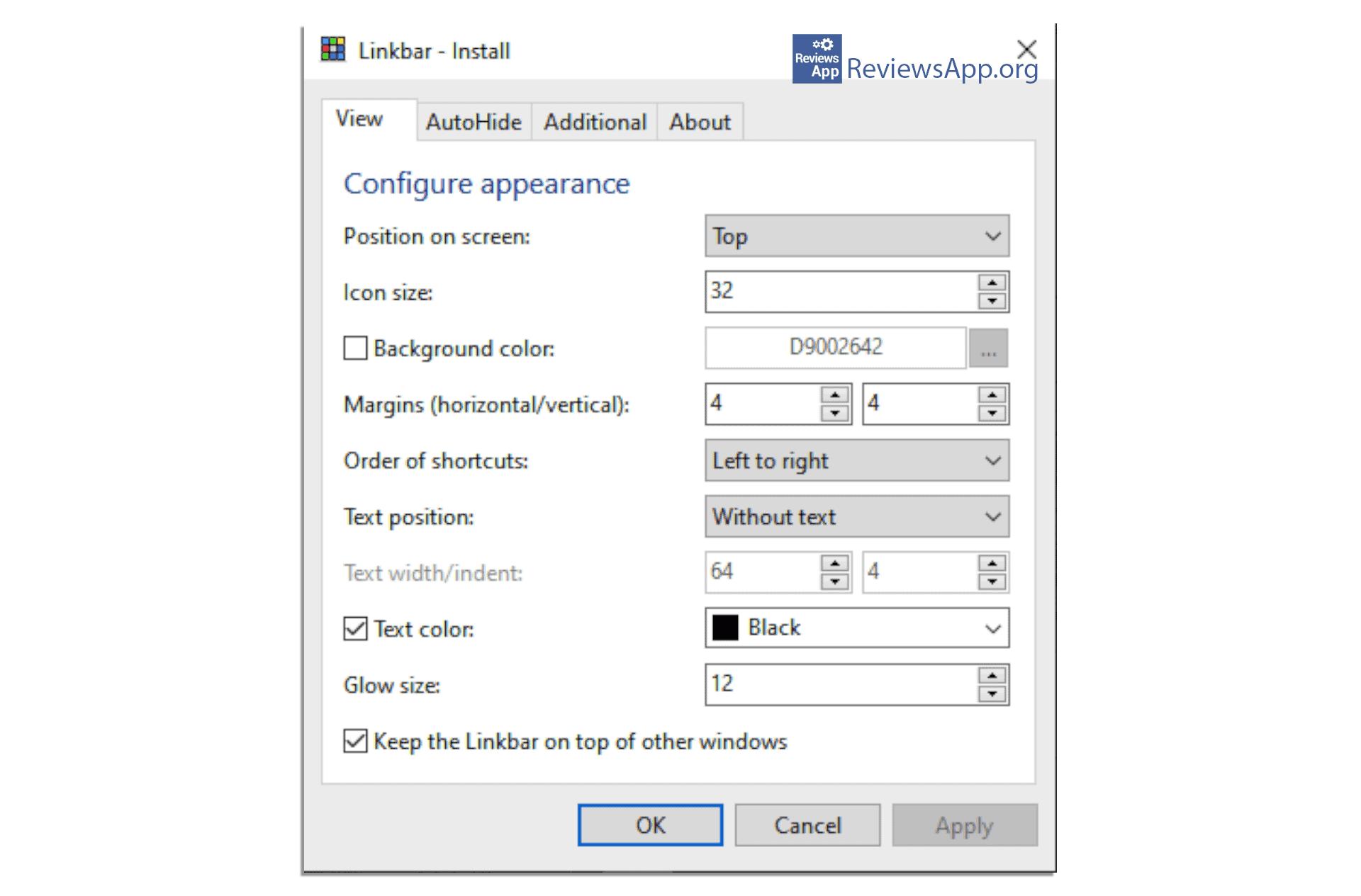 Linkbar settings