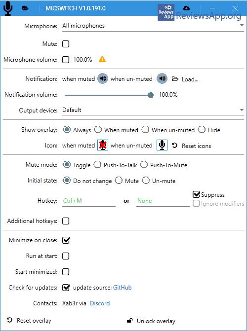 MicSwitch settings