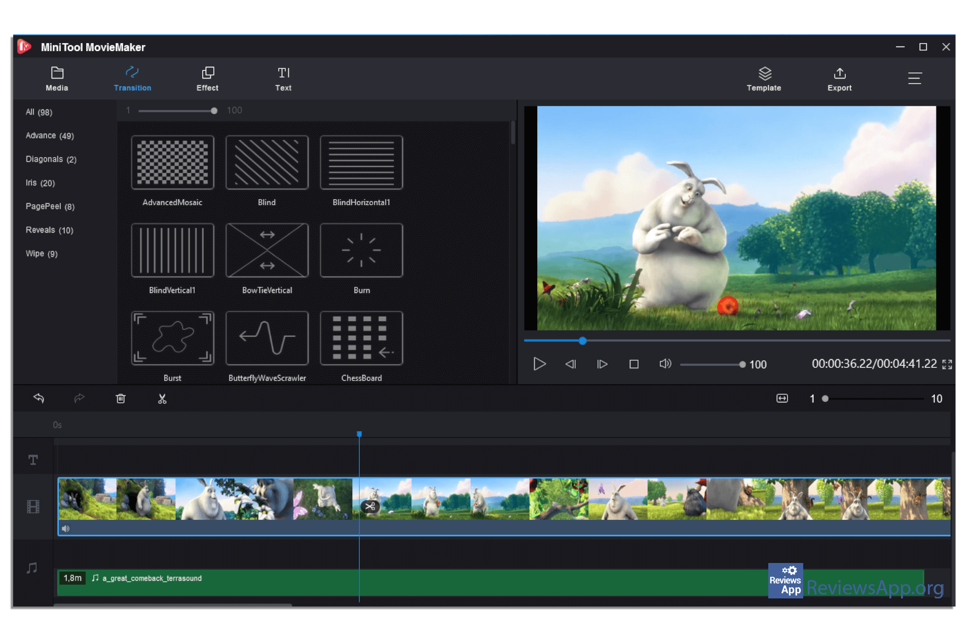 MiniTool MovieMaker transition