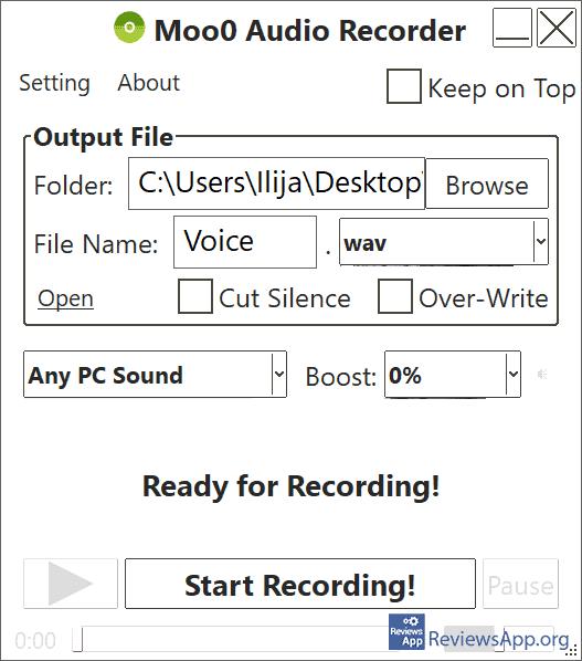 Moo0 Audio Recorder menu