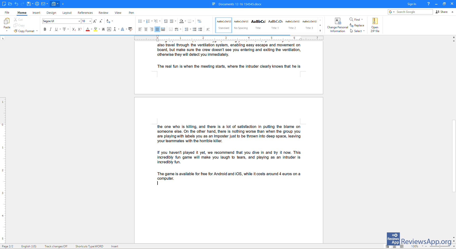 Polaris Office text document