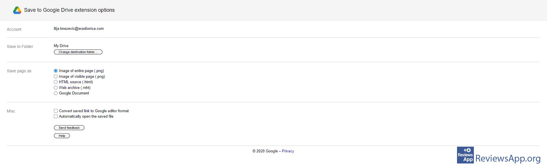 Save to Google Drive settings