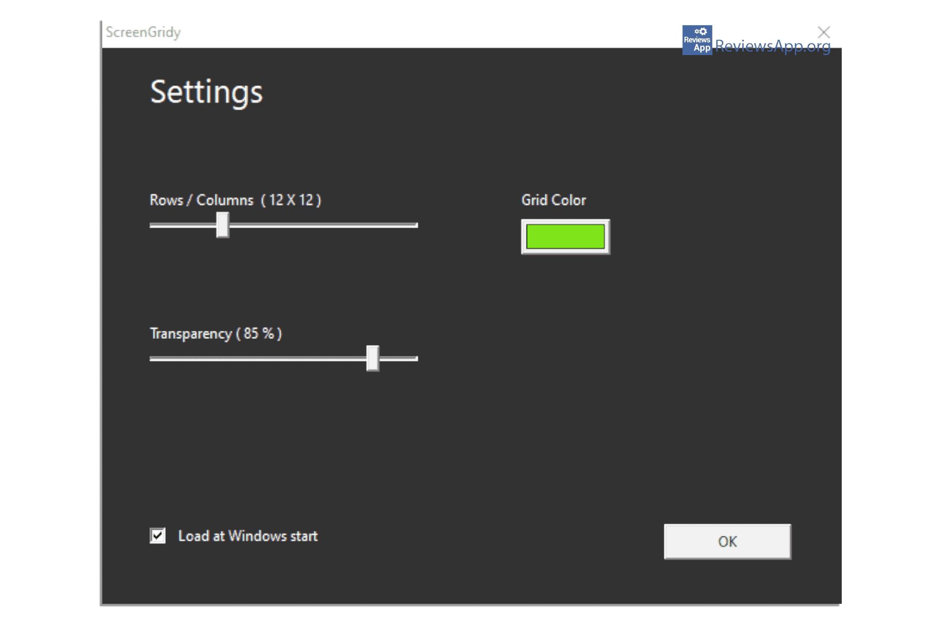 ScreenGridy settings