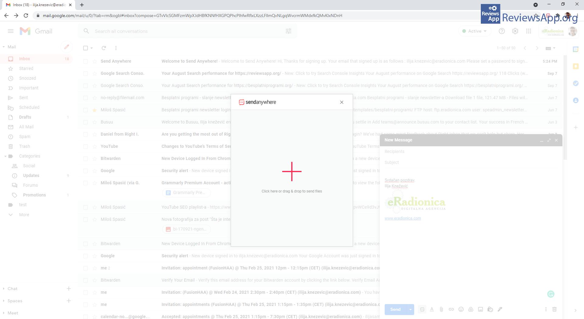 Send Anywhere attach file