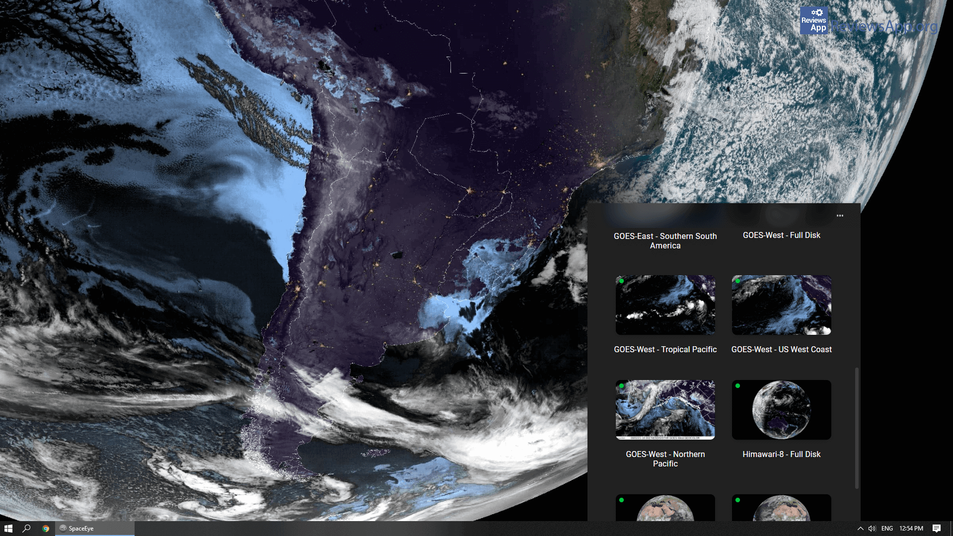 SpaceEye satelite selection