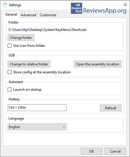 SystemTrayMenu settings