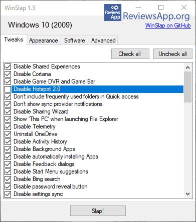 WinSlap menu