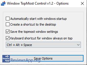 Window TopMost Control options