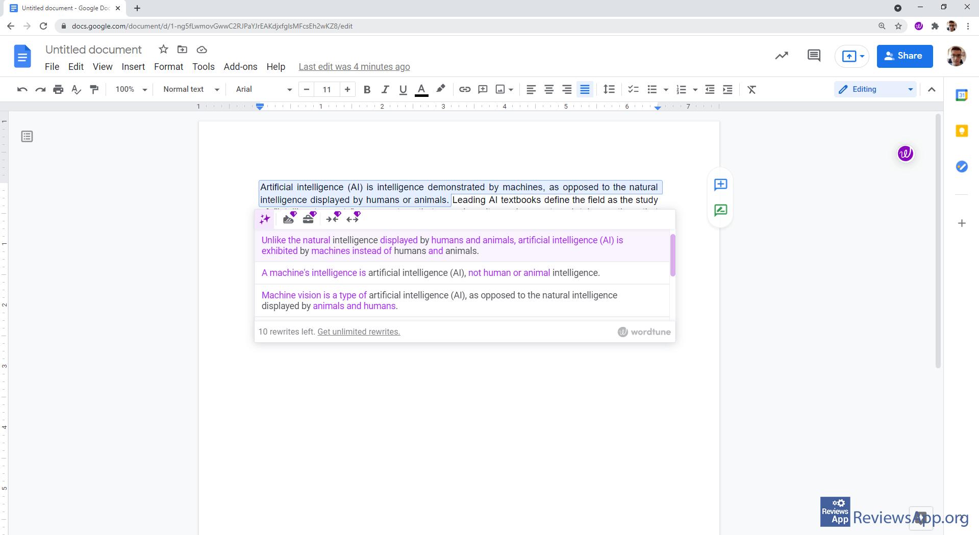 Wordtune in Google Docs