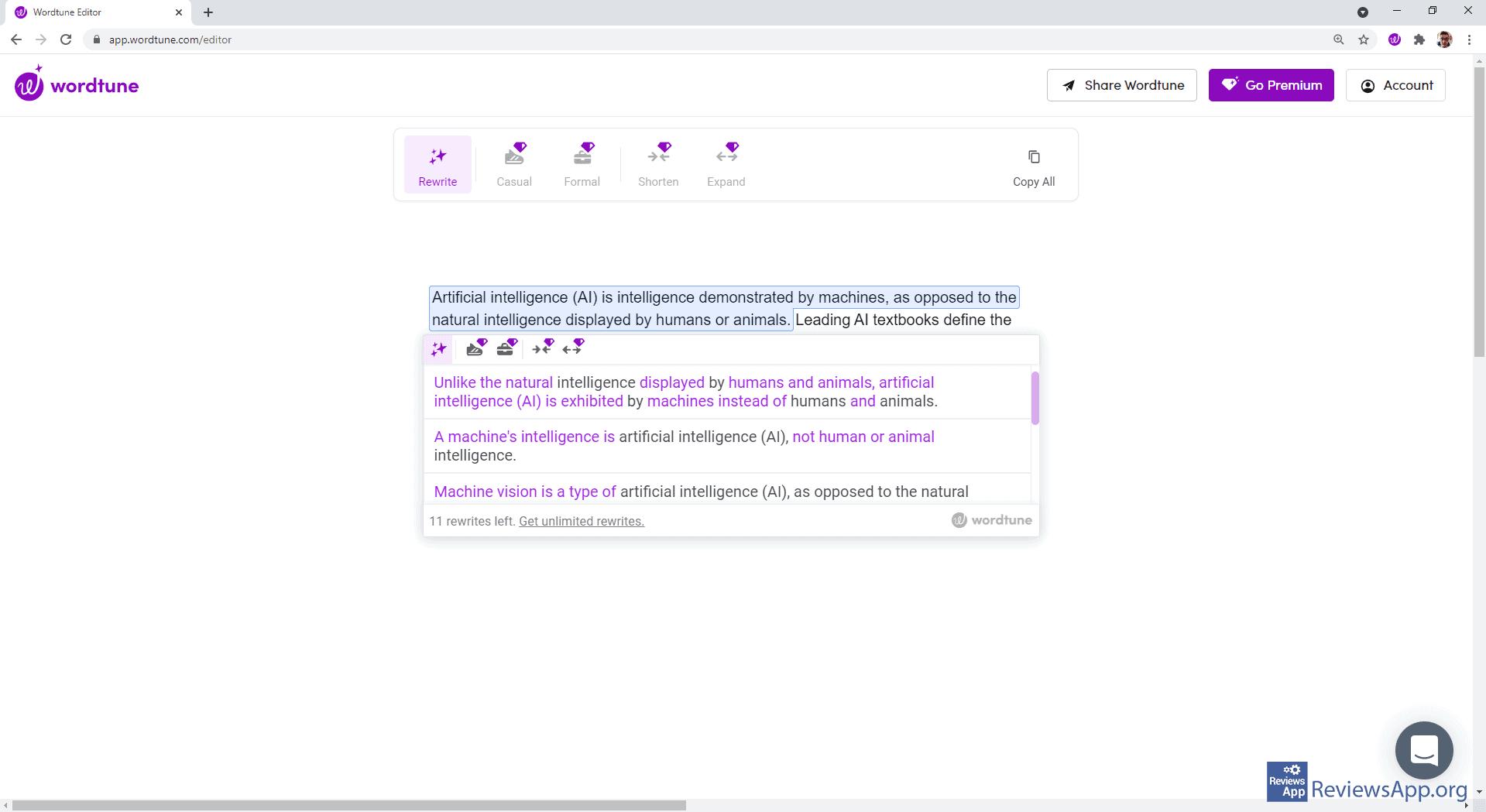Wordtune in Wordtune Editor