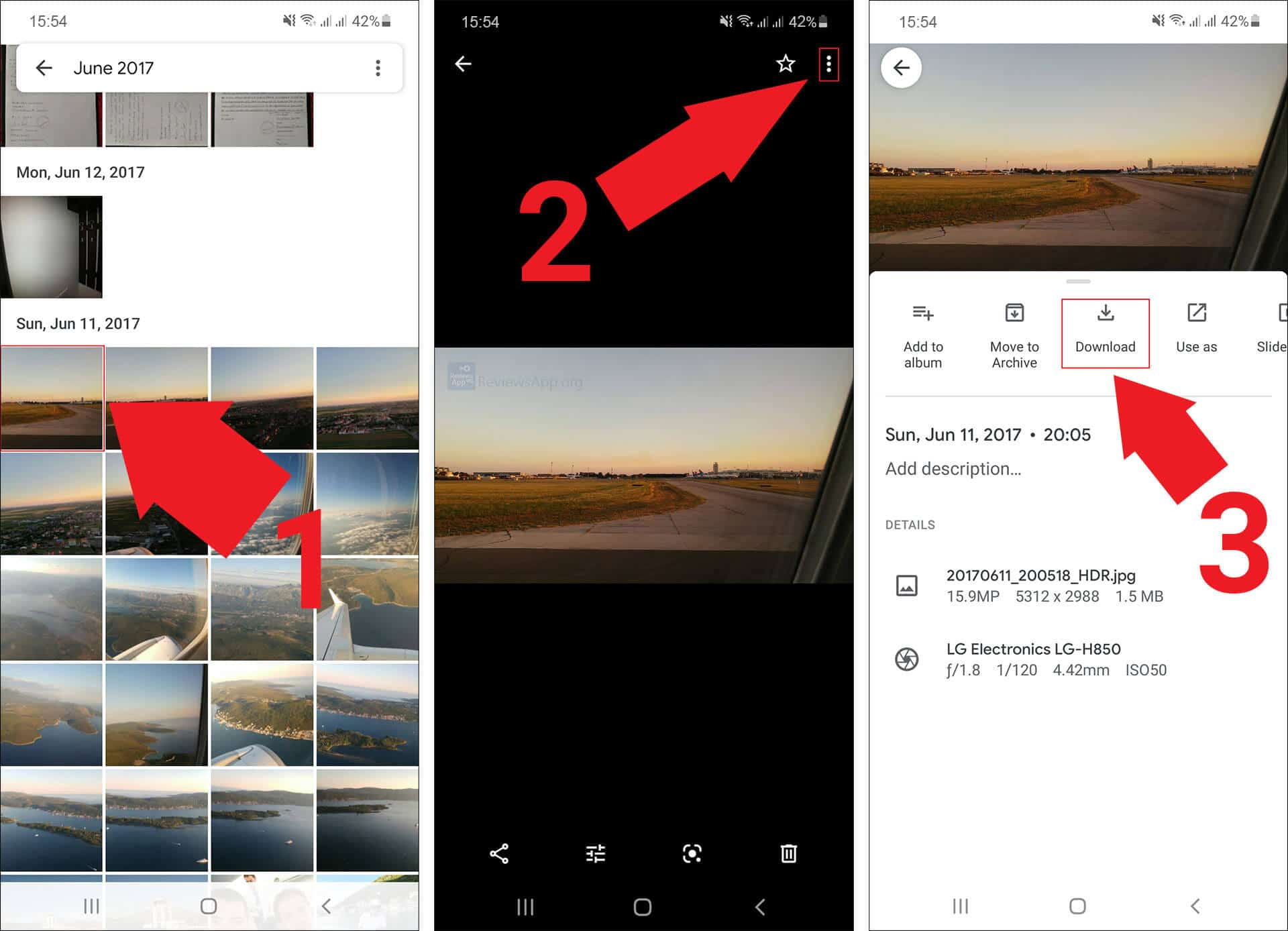 Google Photos download photo or video to a Android phone or tablet
