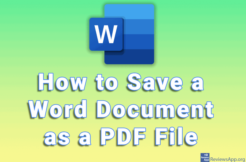 How to Save a Word Document as a PDF File