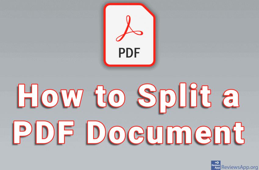 How to Split a PDF Document