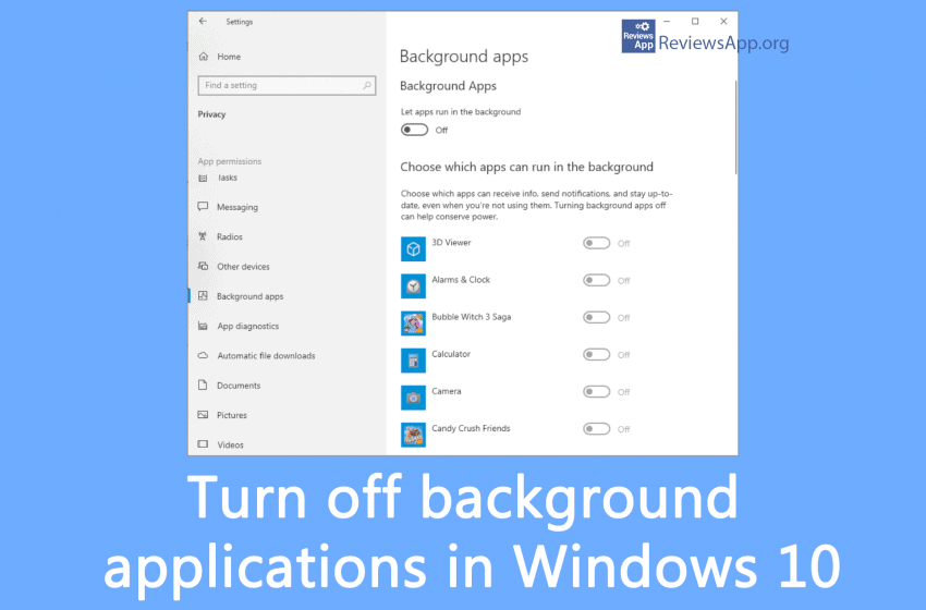 Turn off background applications in Windows 10