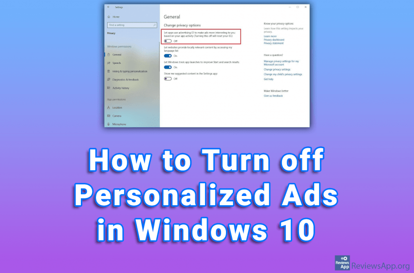 How to Turn off Personalized Ads in Windows 10